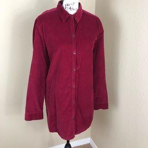 J. Jill Cranberry Red Corduroy Shirt Tunic Top L